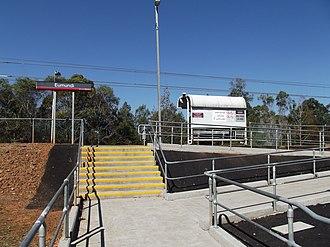 Eumundi railway station - Stairs leading to the platform in September 2012