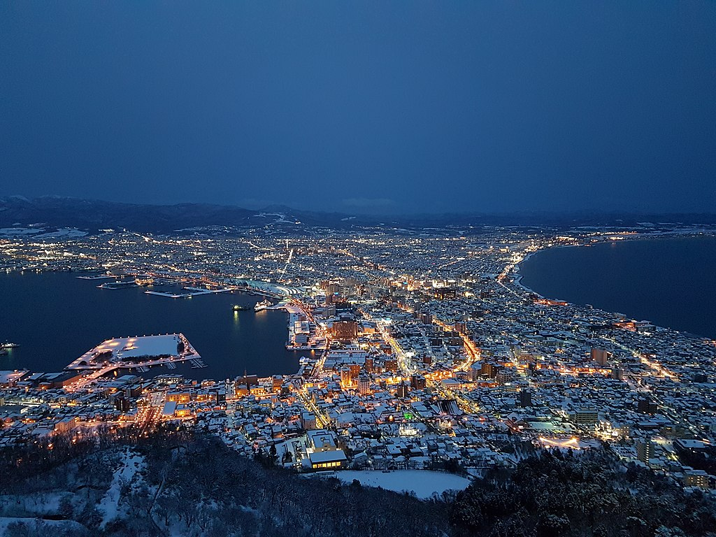 Evening view of Hakodate city from Mount Hakodate