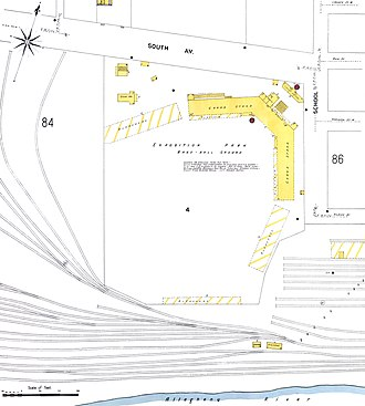 Exposition Park (Pittsburgh) - 1906 Sanborn diagram of Exposition Park