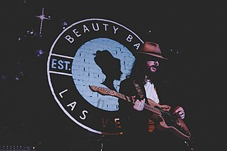 Downtown Las Vegas - An artist performing at Beauty Bar on Fremont East
