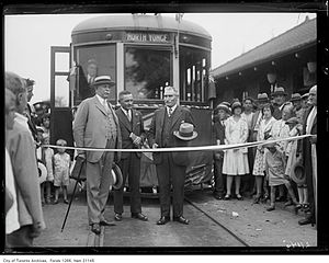 North Yonge Railways - Tape cutting ceremony at the opening of the North Yonge Railways