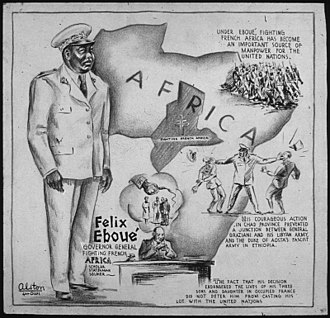 Félix Éboué - Félix Éboué cartoon by Charles Alston, 1943