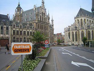 Fairtrade Town - Sign announcing the Belgian city of Leuven's Fair Trade Town status