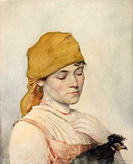Woman with a hen.