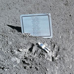 Vladimir Komarov - Commemorative plaque and the Fallen Astronaut sculpture left on the Moon