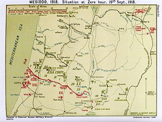 Battle of Nablus (1918) - Falls Sketch Map 30 Situation at Zero hour 19 September
