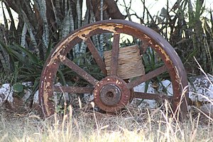Supa Ngwao Museum - Image: Farm Wheel used in the past found at Supa ngwao museum