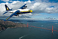 Fat Albert, the C-130 Hercules assigned to the U.S. Navy Flight Demonstration Squadron, the Blue Angels, flies over San Francisco.jpg