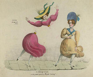 "Corset controversy - ""A cutting wind, or the fatal effects of tight-lacing"", a satirical cartoon from around 1820"
