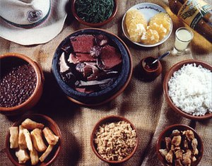 Feijoada - Brazilian-style feijoada with common side dishes