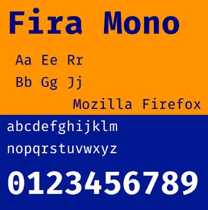 Fira Sans - Image: Fira Mono font specimen