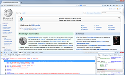 Firebug 2.0.1 running in Firefox 30.0 under Windows 7 with the HTML panel active on the main Wikipedia page.