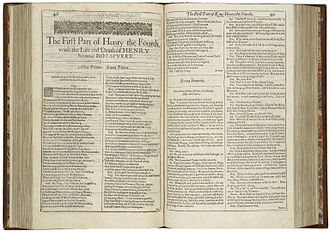 Henry IV, Part 1 - The first page of Henry the Fourth, Part I, printed in the First Folio of 1623