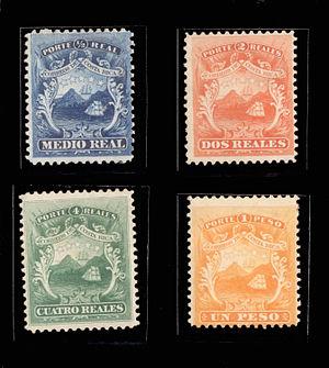 Edificio Correos - First four postal stamps issued in Costa Rica in 1863