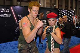 Cosplay Guile en Cammy tijdens New York ComiCon, 2014.