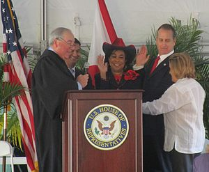 Ileana Ros-Lehtinen - Chief Judge Kevin Michael Moore, swearing in Members of Congress Carlos Curbelo, Frederica Wilson, Mario Díaz-Balart, and Ileana Ros-Lehtinen. (February 2015)
