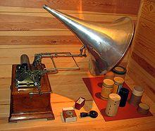 Fonografo di Pathé con rulli