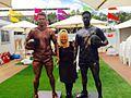 Football Human Statues at The NRL Cowboys Vs Broncos Human Statue Bodyart (21797100430).jpg