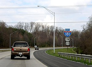 U.S. Route 23 in Tennessee - Signage for former Interstate 181 in Johnson City.