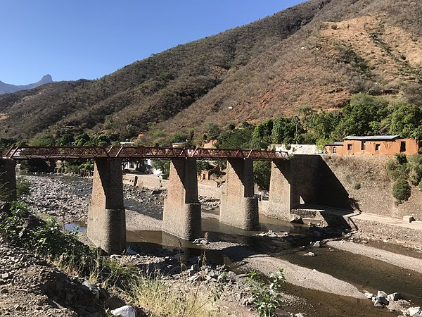 Former railroad bridge connecting mines to hacienda San Miguel Former railroad bridge.jpg