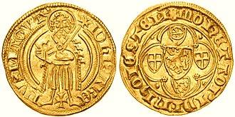 Rhenish guilder - Gold guilder of Mainz elector archbishop John II of Nassau (minted around 1400 in Höchst)