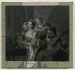 Trompe l'oeil of Mezzotint behind broken Glass