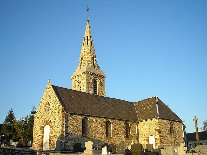 Le Petit-Celland (Normandie, France). L'église Saint-Ouen.