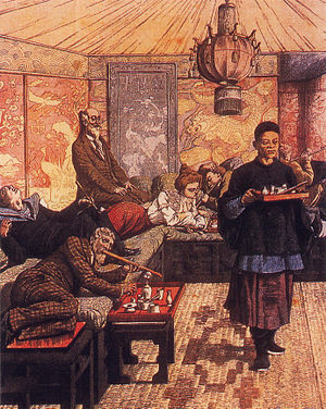 Smoking - An illustration of an opium den on the cover of Le Petit Journal, July 5, 1903