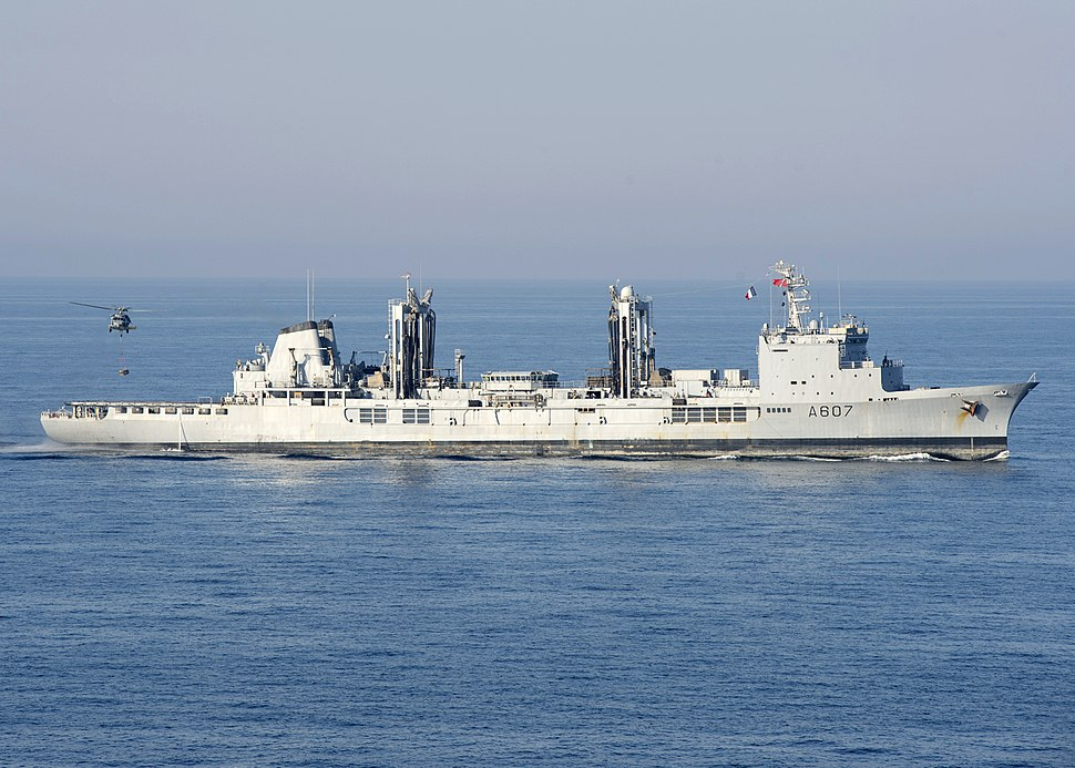 French replenishment oiler Meuse (A607) in the Arabian Sea in March 2015