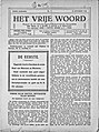Front page of Het Vrije Woord Nov 16 1918.jpg