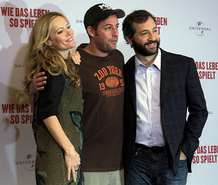 Apatow (right) with Leslie Mann and Adam Sandler in Berlin (2009) Funny People 6807.jpg