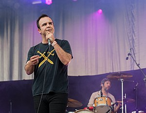 Future Islands - Frontman Sam Herring at the Kosmonaut Festival, Germany (2015) wearing a Double Dagger T-shirt