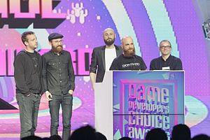 Dontnod Entertainment - Dontnod receive an award for Life Is Strange at the 2016 Game Developers Choice Awards, with directors Raoul Barbet and Michel Koch and producer Luc Baghadoust present.