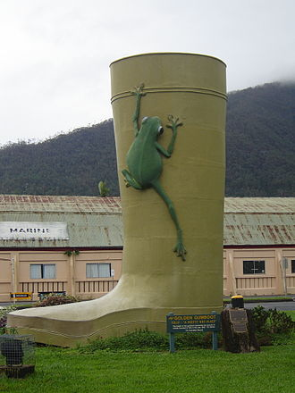Golden Gumboot - The Golden Gumboot at Tully. The Golden Gumboot stands just outside the town's main street.
