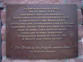 Battle of Mingolsheim - Memorial plate of the Battle of Mingolsheim