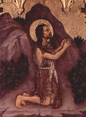 Valle Romita Polyptych - Saint John Praying in the Desert.