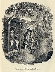 In this scene from Laurence Sterne's The Life and Opinions of Tristram Shandy, Gentleman, Uncle Toby's colonel invents a device for firing multiple miniature cannons at once, based on a hookah. Unfortunately, he and Toby find the puffing on the hookah pipe so enjoyable that they keep setting the cannons off. The novel was published in nine volumes over ten years, starting in 1759. Although it was not always held in high esteem by other writers, its bawdy humour was popular with London society, and it has come to be seen as one of the greatest comic novels in English, as well as a forerunner for many modern narrative devices and styles.