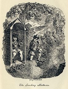 George Cruikshank - Tristram Shandy, planche VIII.  The Smoking Batteries.jpg