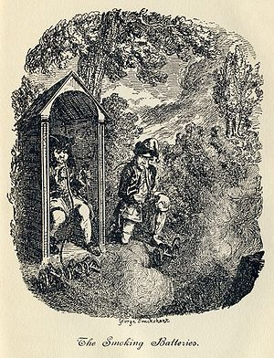 "The Life and Opinions of Tristram Shandy, Gentleman - ""The Smoking Batteries"": Trim, Toby's corporal invents a device for firing multiple miniature cannons at once, based on a hookah. Unfortunately, he and Toby find the puffing on the hookah pipe so enjoyable that they keep setting the cannons off. Illustration by George Cruikshank."