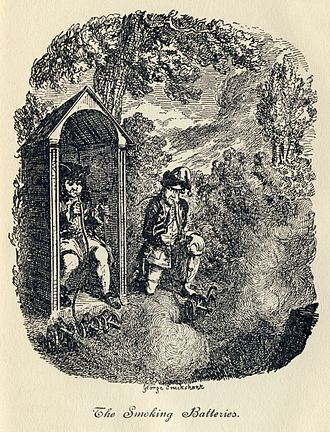 "The Life and Opinions of Tristram Shandy, Gentleman - ""The Smoking Batteries"": Trim, Toby's corporal, invents a device for firing multiple miniature cannons at once, based on a hookah. Unfortunately, he and Toby find the puffing on the hookah pipe so enjoyable that they keep setting the cannons off. Illustration by George Cruikshank."