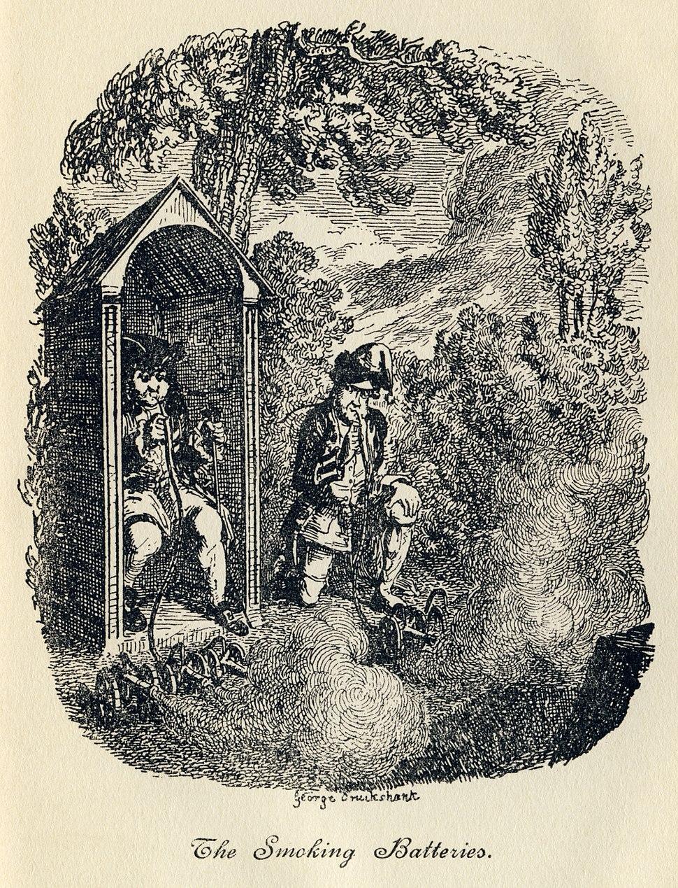 George Cruikshank - Tristram Shandy, Plate VIII. The Smoking Batteries