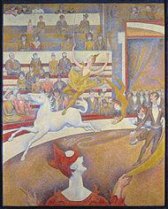 Artistas de circo em tela de Georges Seurat, 1891