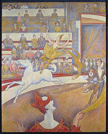 tableau pointilliste: sur la piste, clown, dresseur et une écuyère sur un cheval blanc
