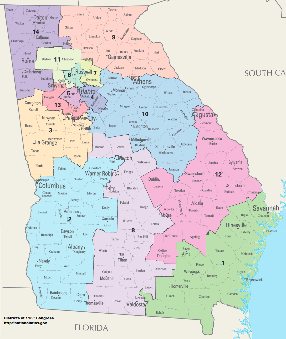 Map Of Georgia Congressional Districts 2014.Georgia S Congressional Districts Wikipedia