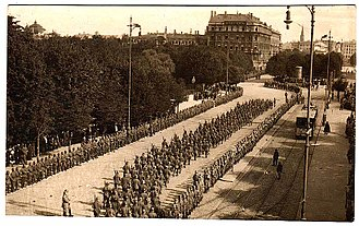Riga - German troops entering Riga during World War I.