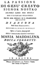 Giammaria Pavani - La passione - titlepage of the libretto - Ancona 1779.png