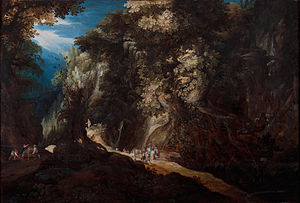 Gijsbrecht Leytens - Image: Gijsbrecht Leytens, Wooded Mountain Landscape with Waterfall and Travellers, first half of the 17th century. Oil on panel