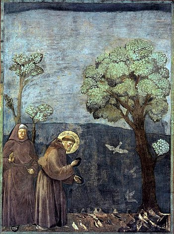 https://upload.wikimedia.org/wikipedia/commons/thumb/8/84/Giotto_-_Legend_of_St_Francis_-_-15-_-_Sermon_to_the_Birds.jpg/350px-Giotto_-_Legend_of_St_Francis_-_-15-_-_Sermon_to_the_Birds.jpg