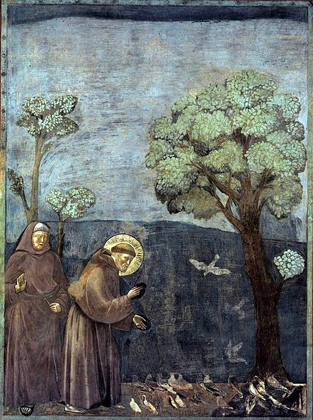 Giotto (?), scena z cyklu św. Franciszka: Kazanie do ptaków