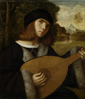 Castalian Band - 16th century Lute player. James VI saw music and court poetry as connected art-forms, employing minstrels from France, England and Italy.